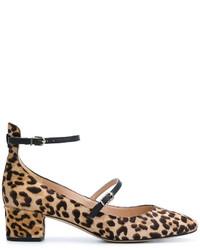 Zapatos de Tacón de Cuero de Leopardo Marrón Claro de Sam Edelman