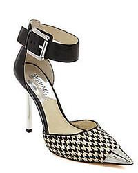 Zapatos de tacón de cuero de pata de gallo en negro y blanco