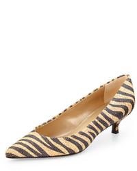 Zapatos de tacón de cuero de rayas horizontales amarillos