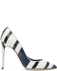 Zapatos de tacón de cuero de rayas horizontales en blanco y negro de Dolce & Gabbana