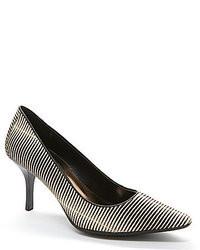 Zapatos de tacón de cuero de rayas horizontales en negro y blanco