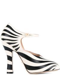 Zapatos de Tacón de Cuero de Rayas Horizontales Negros y Blancos de Gucci