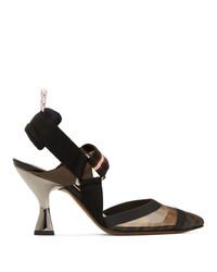 Zapatos de tacón de cuero de rayas horizontales negros de Fendi