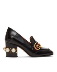 Zapatos de tacón de cuero de rayas horizontales negros de Gucci