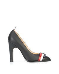 Zapatos de tacón de cuero de rayas horizontales negros de Thom Browne