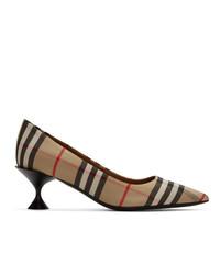 Zapatos de tacón de cuero de tartán marrón claro de Burberry