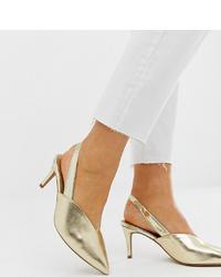 Zapatos de tacón de cuero dorados de ASOS DESIGN