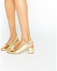 Zapatos de Tacón de Cuero Dorados de Asos