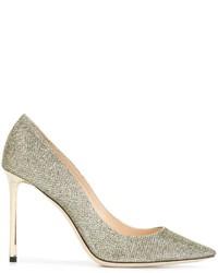 Zapatos de Tacón de Cuero Dorados de Jimmy Choo