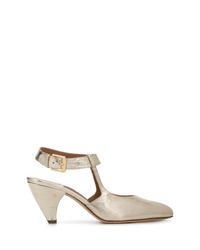 Zapatos de tacón de cuero dorados de Laurence Dacade
