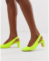 Zapatos de tacón de cuero en amarillo verdoso de ASOS DESIGN