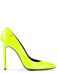 Zapatos de tacón de cuero en amarillo verdoso de Philipp Plein