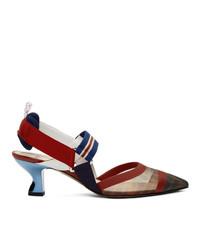 Zapatos de tacón de cuero en azul marino y rojo de Fendi