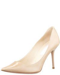 Zapatos de tacón de cuero en beige