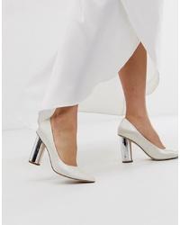 Zapatos de tacón de cuero en beige de ASOS DESIGN