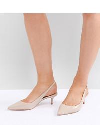 Zapatos de Tacón de Cuero Beige de Dune Wide Fit