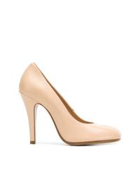 Zapatos de tacón de cuero en beige de Maison Margiela