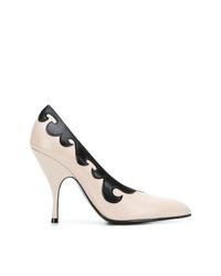 Zapatos de tacón de cuero en blanco y negro de Bottega Veneta