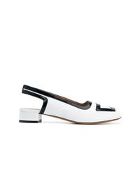 Zapatos de tacón de cuero en blanco y negro de Marni