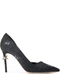 Zapatos de tacón de cuero en gris oscuro de Dsquared2