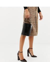 Zapatos de tacón de cuero en marrón oscuro de ASOS DESIGN