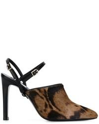 Zapatos de tacón de cuero en marrón oscuro de Max Mara