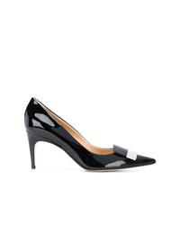 Zapatos de tacón de cuero en negro y blanco de Sergio Rossi