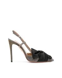 Zapatos de tacón de cuero en negro y dorado de Aquazzura