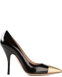 Zapatos de tacón de cuero en negro y dorado de Giorgio Armani