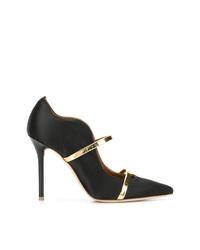 Zapatos de tacón de cuero en negro y dorado de Malone Souliers