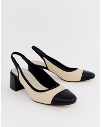Zapatos de tacón de cuero en negro y marrón claro de ASOS DESIGN