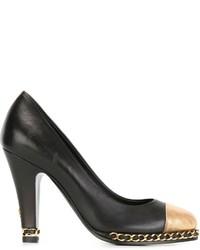 Zapatos de tacón de cuero en negro y marrón claro de Chanel