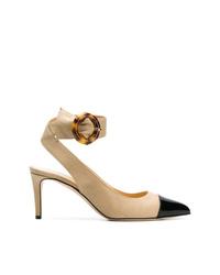 Zapatos de tacón de cuero en negro y marrón claro de Chloe Gosselin