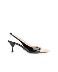 Zapatos de tacón de cuero en negro y marrón claro de Prada