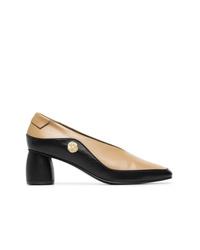 Zapatos de tacón de cuero en negro y marrón claro de Reike Nen