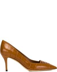 Zapatos de tacón de cuero en tabaco de Salvatore Ferragamo