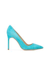 Zapatos de tacón de cuero en turquesa de Manolo Blahnik
