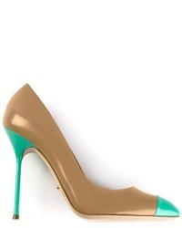 Zapatos de tacón de cuero en turquesa de Sergio Rossi
