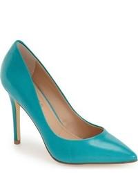 Zapatos de tacón de cuero en verde azulado