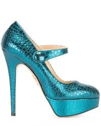 Zapatos de tacón de cuero en verde azulado de Charlotte Olympia