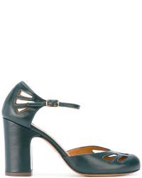 Zapatos de tacón de cuero en verde azulado de Chie Mihara