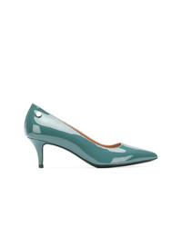 Zapatos de tacón de cuero en verde azulado de Pollini