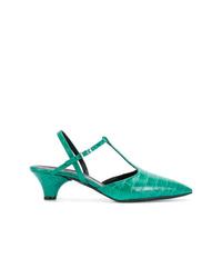 Zapatos de tacón de cuero en verde menta de Marni