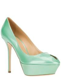Zapatos de tacón de cuero en verde menta de Sergio Rossi