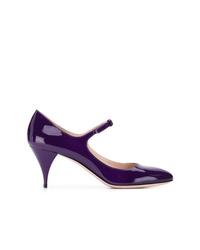 Zapatos de tacón de cuero en violeta de Miu Miu