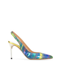 Zapatos de tacón de cuero estampados azules de Maison Margiela