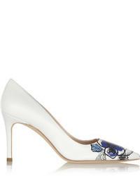 Zapatos de tacón de cuero estampados blancos