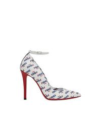 Zapatos de Tacón de Cuero Estampados Blancos de Fendi