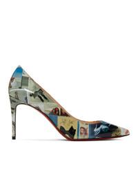 Zapatos de tacón de cuero estampados en multicolor de Christian Louboutin
