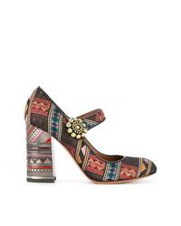 Zapatos de tacón de cuero estampados en multicolor de Etro